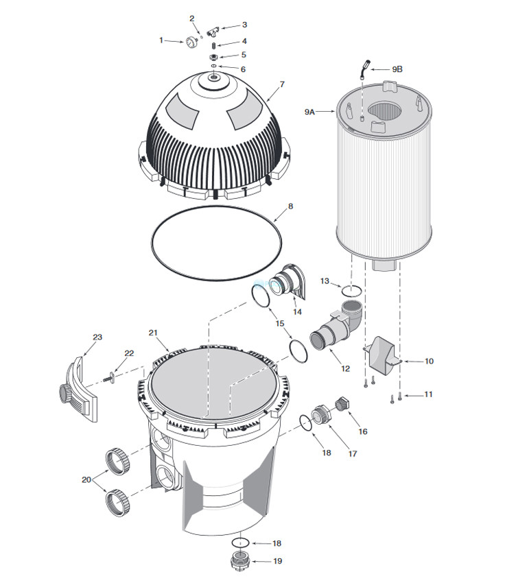 Pentair Sta-Rite D.E. Filter SD Series System:3 | Backwash Valve Required - Not Included | 72 Sq Ft | S7MD72 Parts Schematic