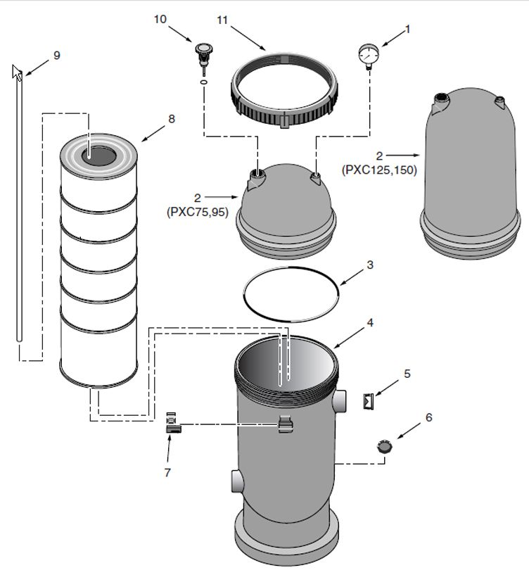 Pentair Sta-Rite Posi-Clear Cartridge Filter 95 Sq Ft | PXC95 Parts Schematic