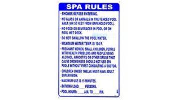 "Florida Spa Rules Sign   24"" x 36""   FL-4"