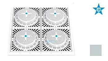 """Aquastar 18"""" Square Mud Frame with Four 9"""" Square 8HPH/SUN Suction Outlet Covers   White   SUN18HPH101"""