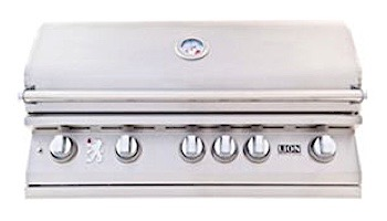 """Lion Premium Grills L-90000 40"""" 5-Burner Stainless Steel Built-in Natural Gas Grill with Lights 