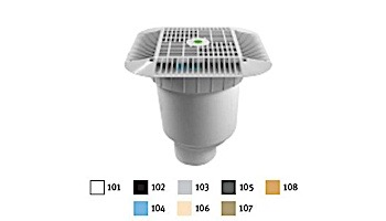 """AquaStar 14"""" Square Grate with Double Deep Sump Bucket with 4"""" Spigot (VGB Series) White   914101C"""
