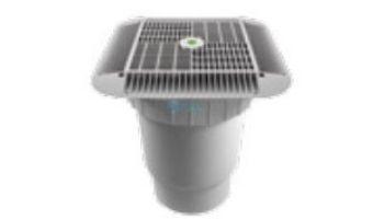 "AquaStar 16"" Square Grate with Double Deep Sump Bucket with 6"" Spigot (VGB Series) White   1216101E"