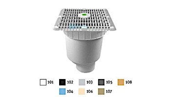 """AquaStar 9"""" Square Wave Suction Outlet Cover with Vented Riser Ring with Double Deep Sump Bucket with 4"""" Spigot (VGB Series) White   WAV9WR101C"""