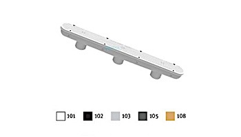 "AquaStar 32"" Channel Drain with 3 Port PVC Sump | Pinhole Anti-entrapment Suction Outlet Cover (VGB Series) Light Gray | 32CDPHP103"