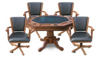 Hathaway Oak 3-In-1 Poker Table with 4 Arm Chairs   Dark Oak Finish   NG2351 BG2351