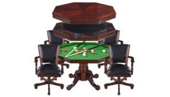 Hathaway Kingston Walnut 3-In-1 Poker Table with 4 Arm Chairs   Walnut Finish   NG2366 BG2366