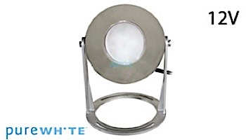 J&J Electronics PureWhite LED Underwater Fountain Luminaire | Base And Guard | 12V 10' Cord | LFF-S1L-12-WG-WB-10