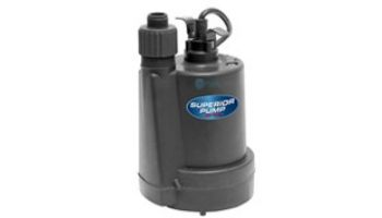 Superior Pump Thermoplastic Utility Pump | Top Discharge | 1560 GPH 1/5 HP 25-Foot Cord | 91029