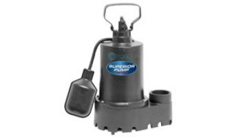 Superior Pump Cast Iron Submersible Sump Pump | Side Discharge | 2760 GPH 1/3 HP 25-Foot Cord | 92339