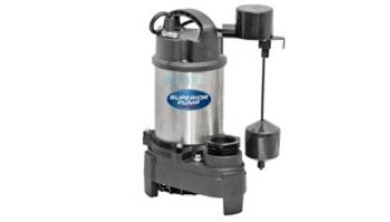 Superior Pump Stainless Steel & Cast Iron Submersible Sump Pump | Side Discharge | 4500 GPH 1/2 HP 25-Foot Cord | 92589