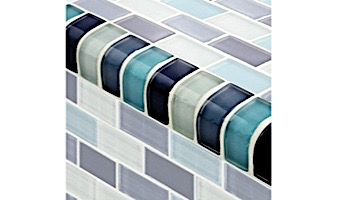 Artistry In Mosaics Crystal Series - Trim Aqua Blend Glass Tile | TRIM-GC82348T2