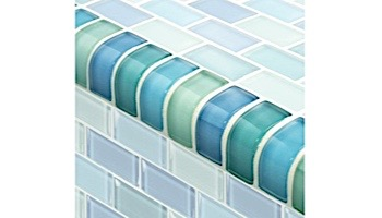 Artistry In Mosaics Crystal Series - Trim Turquoise Blue Blend Glass Tile | TRIM-GC82348T1