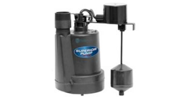 Superior Pump Thermoplastic Submersible Sump Pump | Top Discharge | 1800 GPH 1/4 HP 10-Foot Cord | 92269