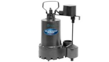 Superior Pump Cast Iron Submersible Sump Pump | Side Discharge | 2760 GPH 1/3 HP 25-Foot Cord | 92349
