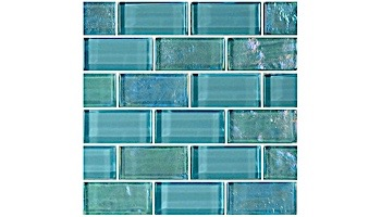 Artistry In Mosaics Twilight Series 1x2 Glass Tile   Turquoise Brick   GT82348T4