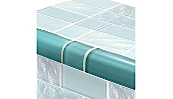 Artistry In Mosaics Twilight Series Trim Glass Tile   Turquoise Mixed   TRIM-GT8M4896T4