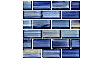 Artistry In Mosaics Watercolors Series 1x2 Trim Glass Tile   Blue   TRIM-GW82348B10