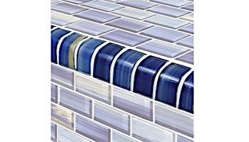 Artistry In Mosaics Watercolors Series 1x2 Trim Glass Tile | Blue | TRIM-GW82348B10