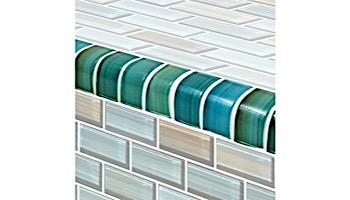 Artistry In Mosaics Watercolors Series 1x2 Trim Glass Tile | Aqua | TRIM-GW82348T5