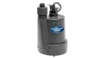 Superior Pump Thermoplastic Utility Pump | Top Discharge | 1800 GPH 1/4 HP 25-Foot Cord | 91255