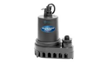 Superior Pump Thermoplastic Utility Pump | Side Discharge | 1800 GPH 1/4 HP 25-Foot Cord | 91270