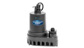 Superior Pump Thermoplastic Utility Pump | Side Discharge | 2880 GPH 1/3 HP 10-Foot Cord | 91370