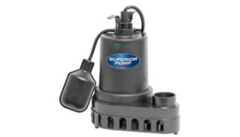 Superior Pump Thermoplastic Submersible Sump Pump | Side Discharge | 2880 GPH 1/3 HP 25-Foot Cord | 92378