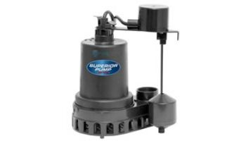 Superior Pump Thermopastic Submersible Sump Pump | Side Discharge | 2880 GPH 1/3 HP 25-Foot Cord | 92379