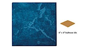 National Pool Tile Blue Seas 6x6 Single Bullnose Pool Tile | Teal Blue | SEA-TEAL SBN