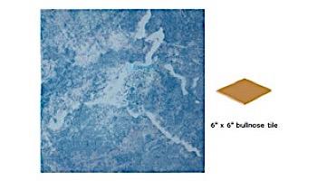 National Pool Tile Blue Seas 6x6 Single Bullnose Pool Tile | Light Blue | SEA-LIGHT SBN