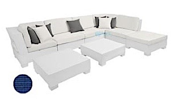 Ledge Lounger Signature Collection Sectional   8 Piece L-Shape White Base   Oyster Standard Fabric Cushion   LL-SG-S-8PLS-SET-W-STD-4642