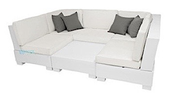 Ledge Lounger Signature Collection Sectional | 6 Piece U-Shape White Base | Mediterranean Blue Standard Fabric Cushion | LL-SG-S-6PUS-SET-W-STD-4652