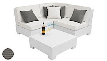Ledge Lounger Signature Collection Sectional   4 Piece Diamond White Base   Oyster Standard Fabric Cushion   LL-SG-S-4PD-SET-W-STD-4642