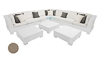 Ledge Lounger Signature Collection Sectional | 10 Piece L-Shape White Base | Oyster Standard Fabric Cushion | LL-SG-S-10PLS-SET-W-STD-4642