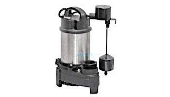 Superior Pump Submersible Sump Pump | 1 HP Stainless Steel | Side Discharge with Vertical Float Switch | 25' Cord and 25' Nylon Rope | 92159