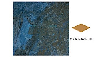 National Pool Tile Coral 6x6 Single Bullnose Pool Tile   Gorgonian Teal   CRL-TEAL SBN