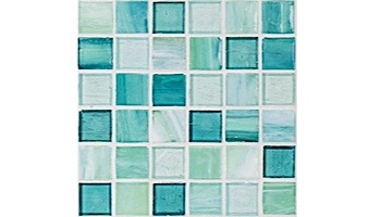 National Pool Tile Santorini Series 1x1 Glass Tile | Cerulean Aqua | SAN-AQUA
