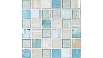 National Pool Tile Santorini Series 1x1 Glass Tile | Argent Blue | SAN-BLUE