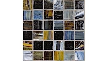 National Pool Tile Santorini Series 1x1 Glass Tile   Argent Blue   SAN-BLUE