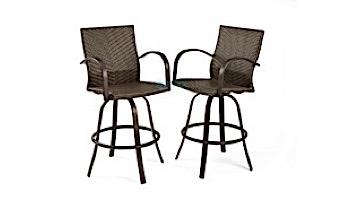 Outdoor GreatRoom Naples Leather Wicker Barstools | NAPLES-4030-L