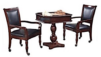 Hathaway Fortress Chess, Checkers & Backgammon Pedestal Game Table & Chairs Set   Mahogany   NG2995 BG2995