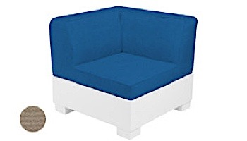 Ledge Lounger Affinity Collection Sectional | Corner Piece White Base | Oyster Standard Fabric Cushion | LL-AF-S-C-SET-W-STD-4642