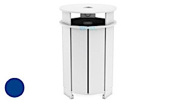 Ledge Lounger Mainstay Collection Outdoor Round Trash Bin   White   LL-MS-TB-RD-WH