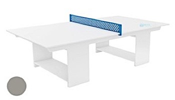 Ledge Lounger Outdoor Games Collection Ping Pong Table | White | White Paddles and Sky Blue Net | LL-GM-PG-WH-WH-SB