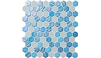 National Pool Tile Starburst Mosaic Glass Tile | Arctic Blue | STA-ARCTIC