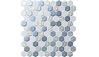 National Pool Tile Starburst Mosaic Glass Tile | Silver | STA-SILVER
