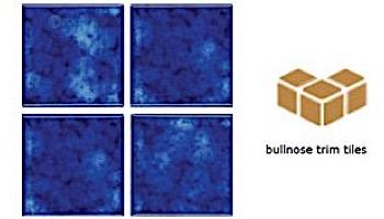 National Pool Tile Akron Field 3X3 Surface Bullnose Trim   Royal Blue   KAK305 SBN