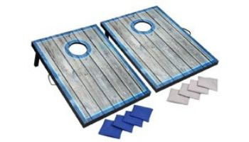 Hathaway LED Cornhole Set with Target Boards and 8 Bean Toss Bags   Blue/White   BG5036