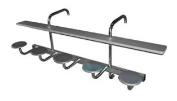 Global Pool Products 5-Seat Swim-Up Bar | Gray Powder Coated Structure with Gray Top | GPPOTE-5ST-GRAY